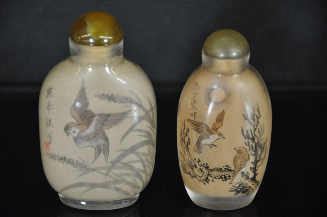 6290011: CHINESE 20TH C. REVERSE PAINTING GLASS SNUFF B