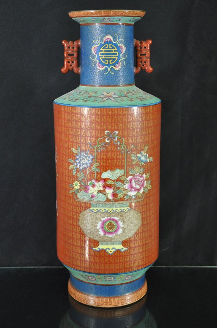 6290023: CHINESE 19TH C. FAMILLE ROSE PORCELAIN VASE