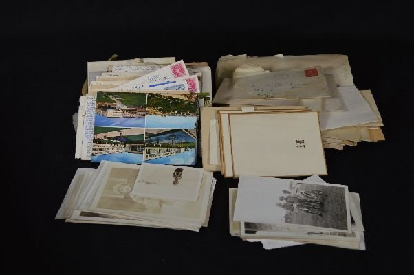 8290010: Box of vintage postcards, correspondence and p