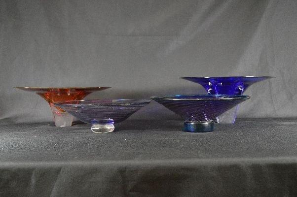 8290013: 4 pieces contemporary signed art glass