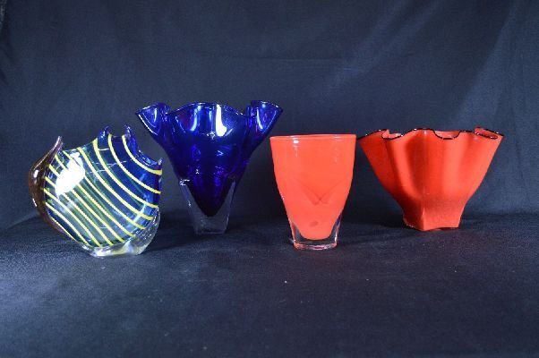 8290014: 4 pieces contemporary signed art glass