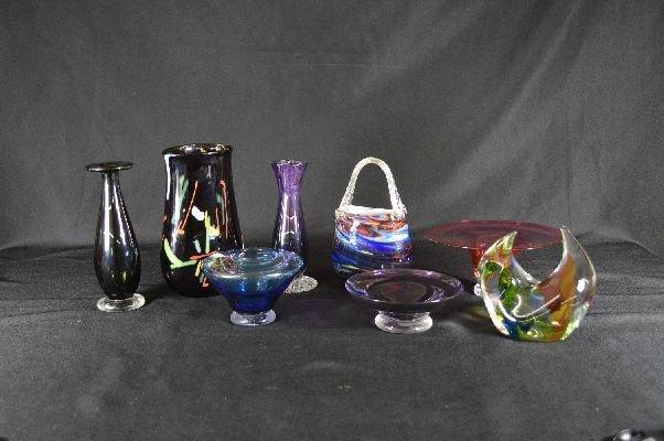 8290019: 8 pieces contemporary signed art glass
