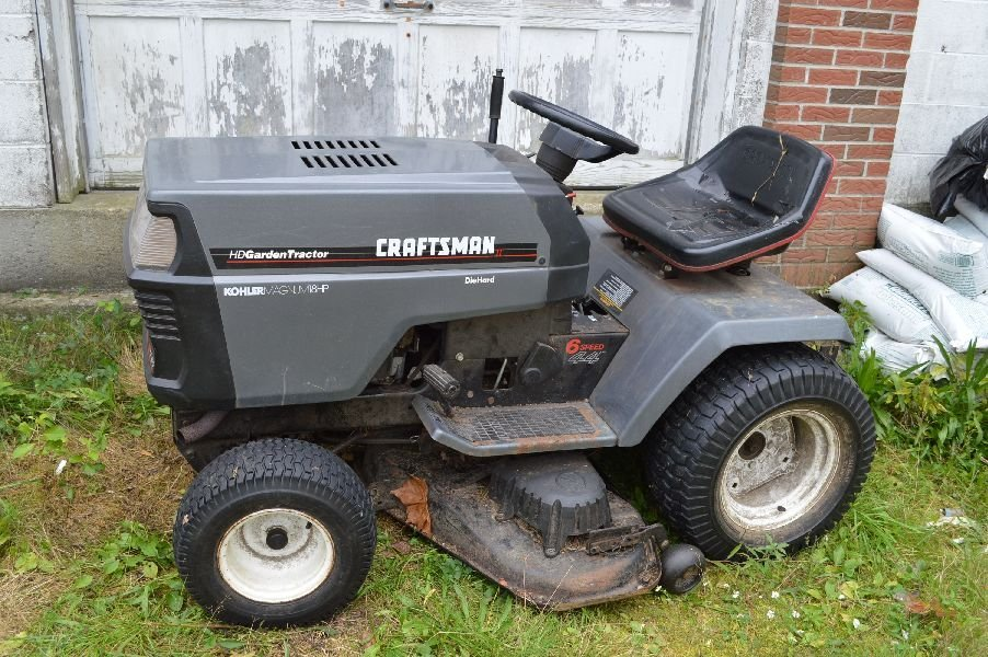 80003: CRAFTSMAN RIDE ON LAWNMOWER WITH PLOW AND TRAILE