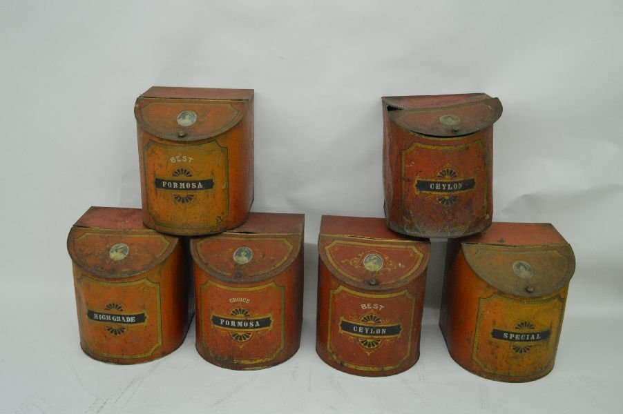 80016: 6 LARGE PAINTED W/STENCILED COUNTRY STORE BINS