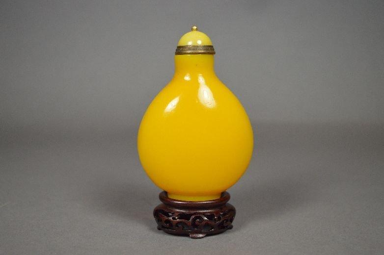 110015: Imperial yellow Peking glass snuff bottle