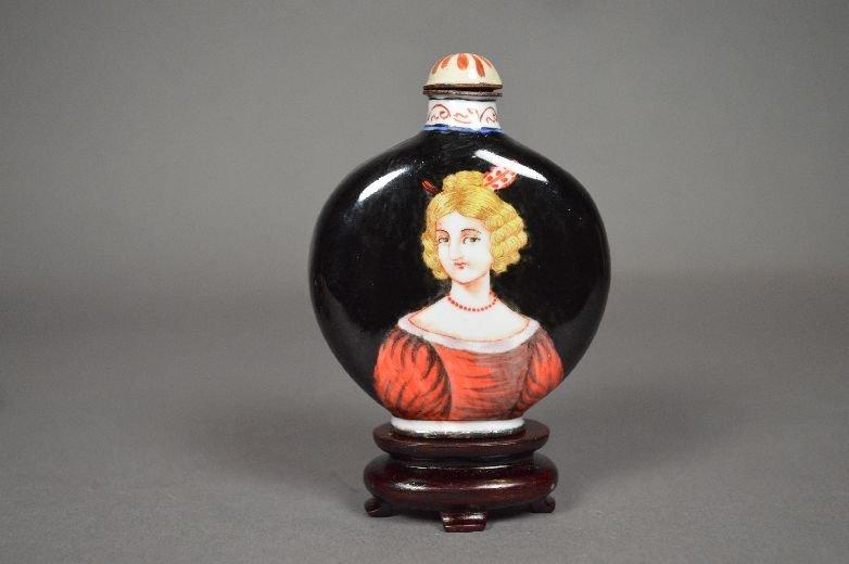 110019: Enameled on copper snuff bottle