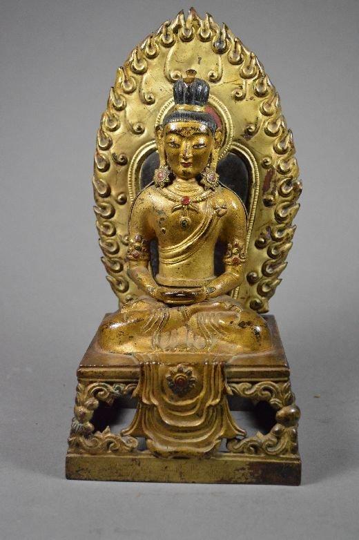 110124: Seated gilt bronze Buddha