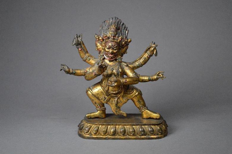 110133: Fine and rare Sino-tibetan gilt bronze Hayagriv