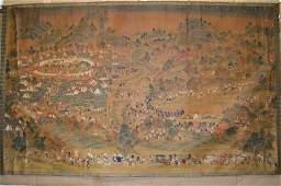 110163:Rare Emperor Hunting Watercolor Painting