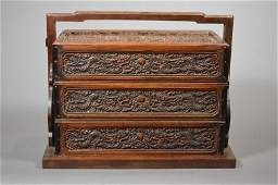 110255: Carved Huanghuali holding box
