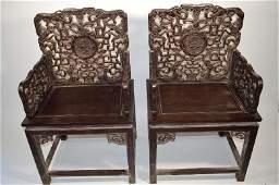 110265: Pair of Carved Zitan wood arm chair