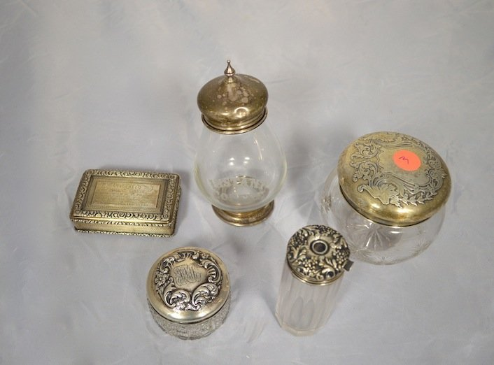 5 STERLING SILVER AND GLASS DINING ITEMS