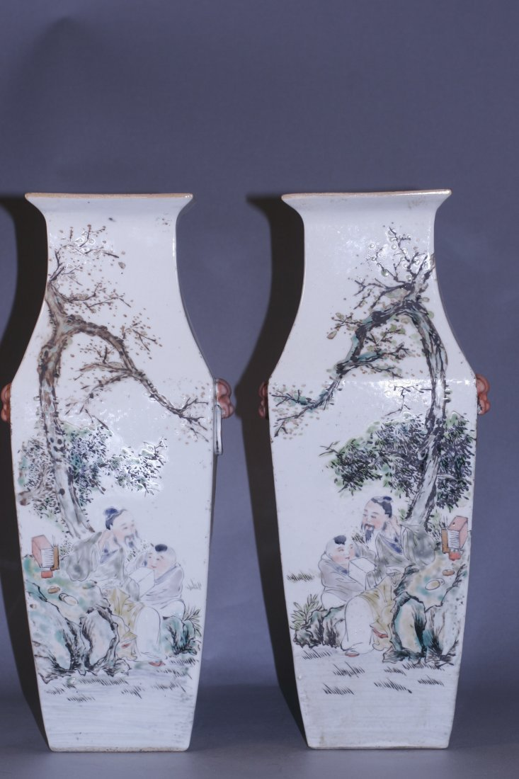 Pair of square shaped famille rose vase