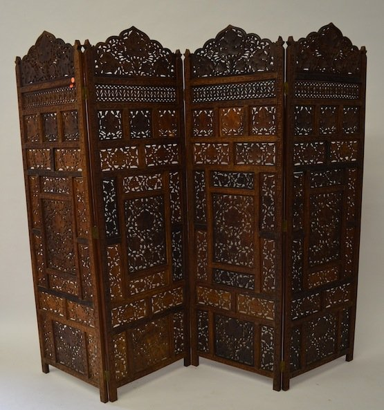 HAND CARVED THAI 4 PANEL WOOD SCREEN