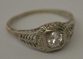 18K WHITE GOLD VICTORIAN DIAMOND RING