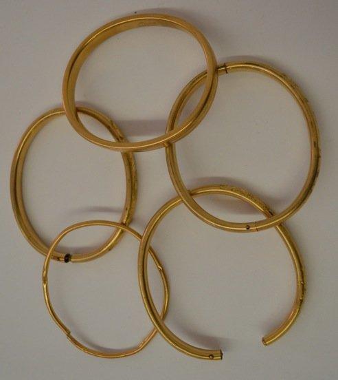 5 VICTORIAN GOLD BANGLES