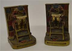 PAIR OF FIGURAL ARMOR BRONZE BOOKENDS