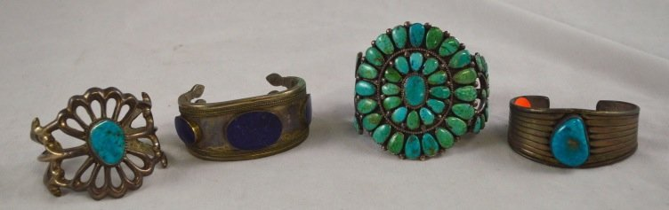 4 Turquoise and Sterling Silver Cuffs