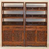 Rare And Fine Carved Pair Huanghuali Wood Cabinet