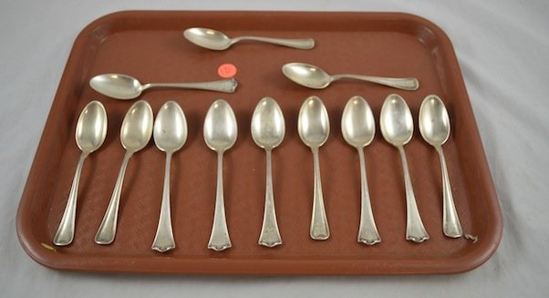 12 Continental Sterling Silver Spoons