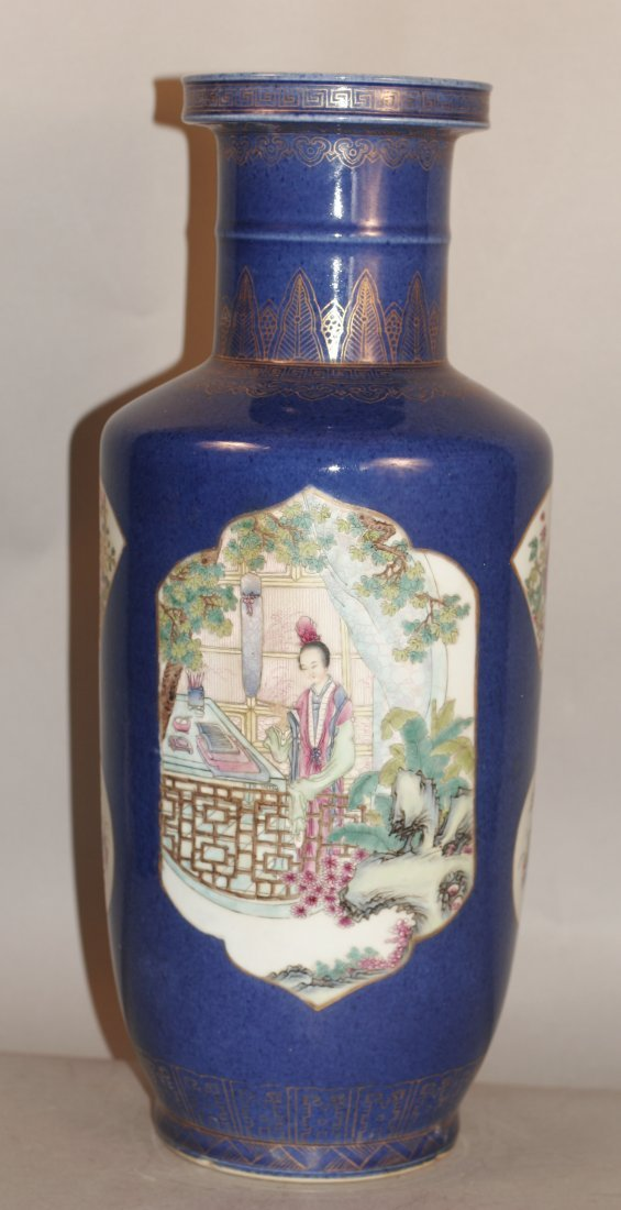 Blue Glazed Famille Rose Porcelain Vase