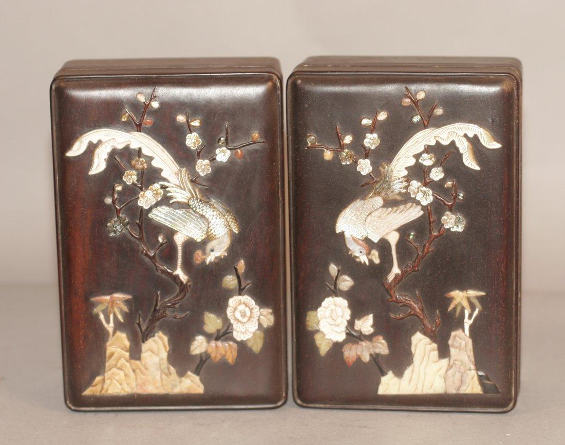 Pair Zitan Wood Box