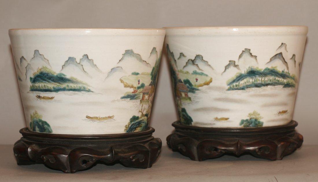 Pair Famille Rose Porcelain Flower Pot
