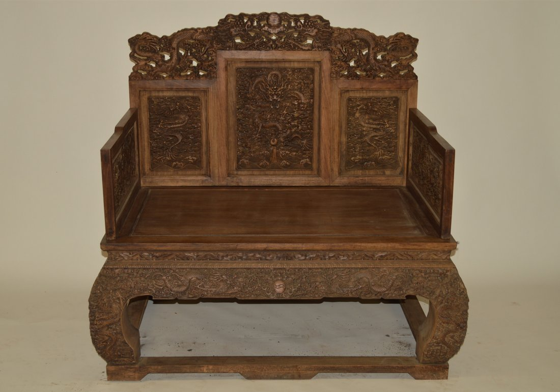 Large And Rare Huanghuali wood Throne