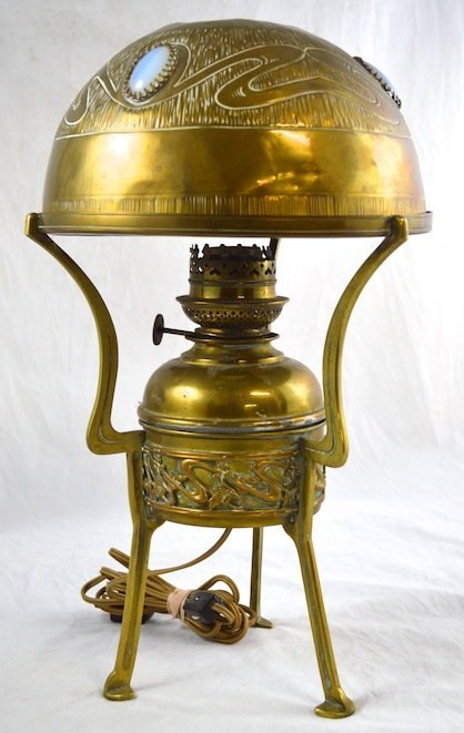Arts & Crafts Kosmos Brass and Moonstone Table Lamp