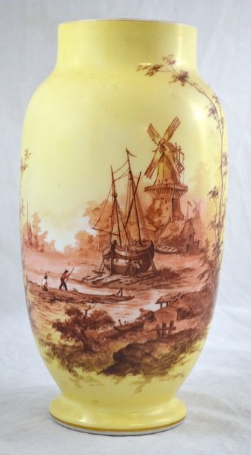 Continental Hand Painted  Bristol Vase With Ships