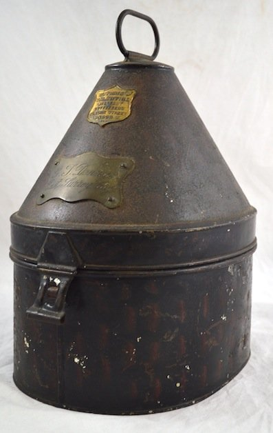 19th C. English Military  Decorated Toleware Hat Box