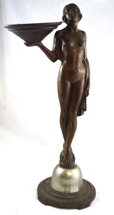 Bronze Patinated Nude Figural Art Deco Receiver