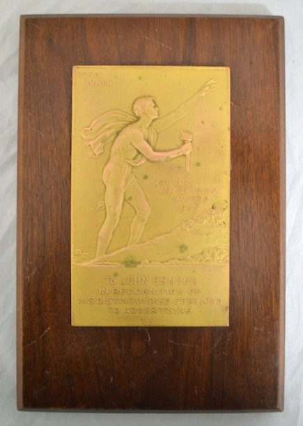 1939 Bronze Art Nouveau/deco Advertising Award