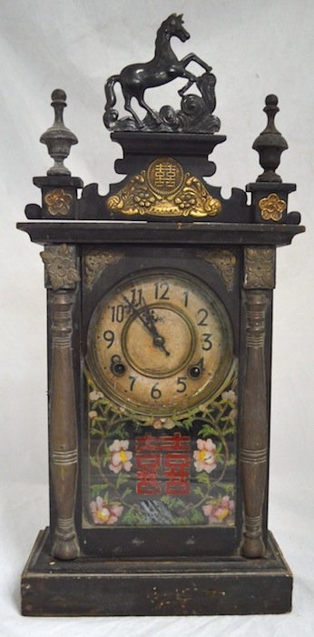19th C. Shelf Clock with Korean Motif