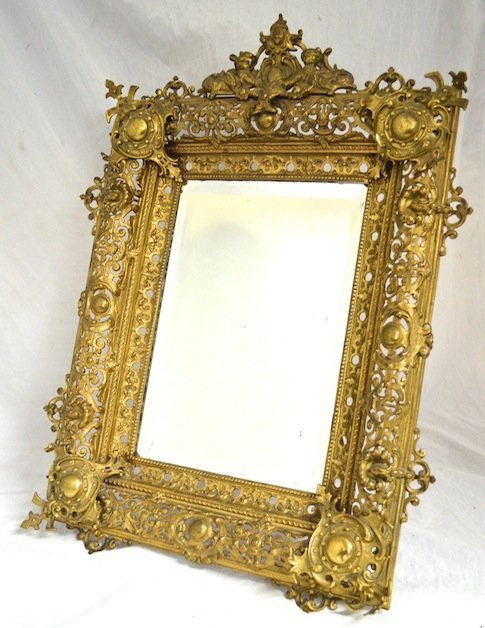 Large Rococco Easel-back Gilded Brass Table Mirror