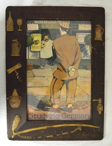 "German Novelty print and  Frame ""studying German"""