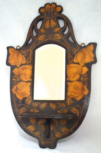 Art Nouveau Painted Sessionist Mirrored shelf