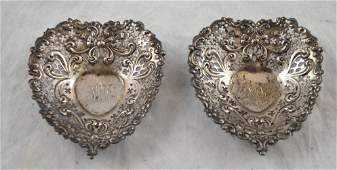 2 Gorham Sterling Silver Heart Dishes 525 g