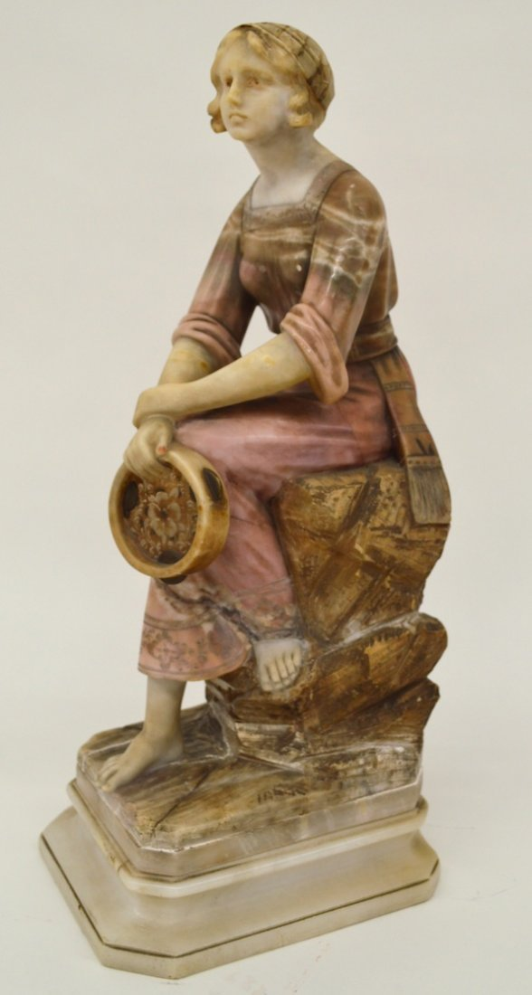 Carved Alabaster Gypsy with Tambourine Sculpture