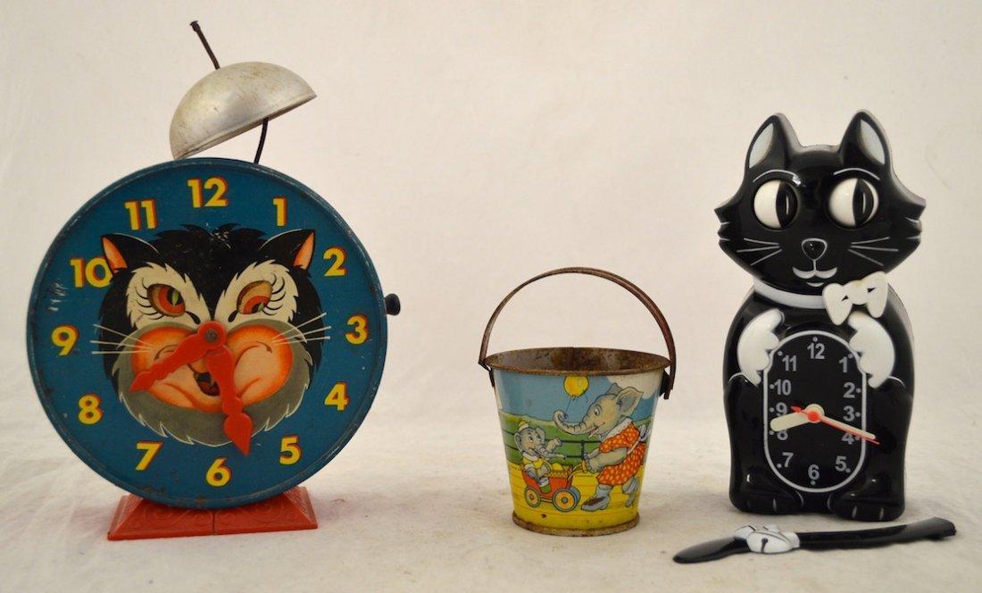 Vintage Toys- Cat Clock, Mattel 1952 Alarm Clock, Pail