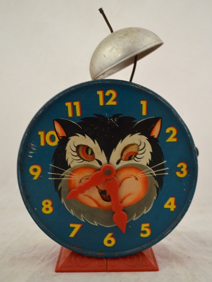 Vintage Toys- Cat Clock, Mattel 1952 Alarm Clock, Pail - 4