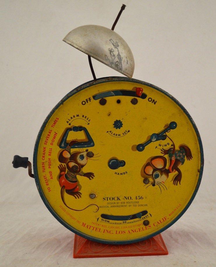 Vintage Toys- Cat Clock, Mattel 1952 Alarm Clock, Pail - 5
