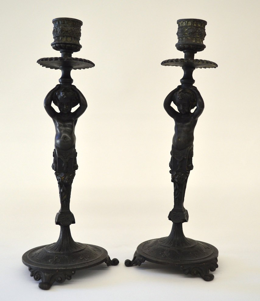 Pair of Cast Metal Victorian  Candlesticks, 10''