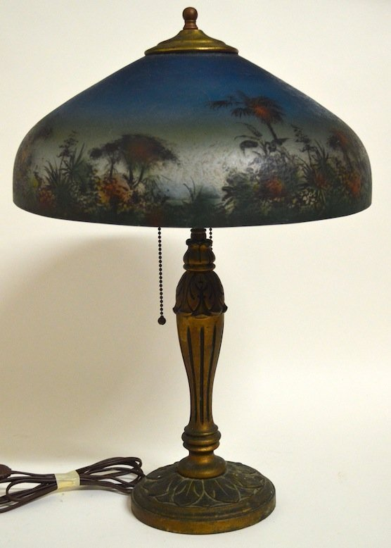 Antique Reverse Painted Lamp by D.M. Co.