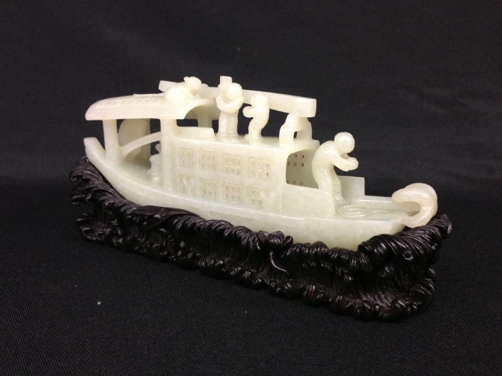 Carved Chinese Jade Boat Sculpture