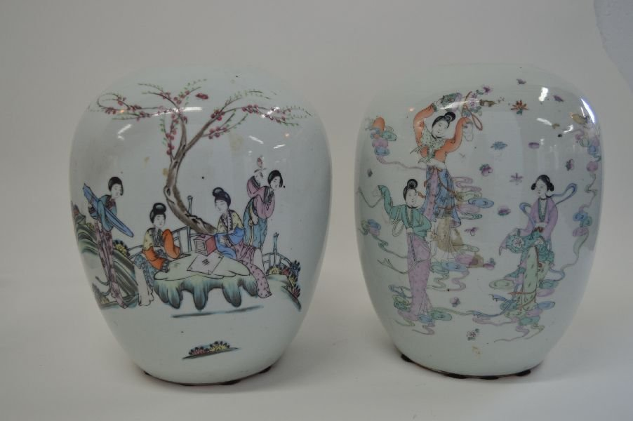 PAIR OF CHINESE  11'' FAMILLE ROSE WATERMELON JARS
