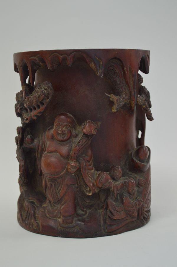 9.5'' HARDWOOD BRUSH POT WITH CARVED BUDDHA