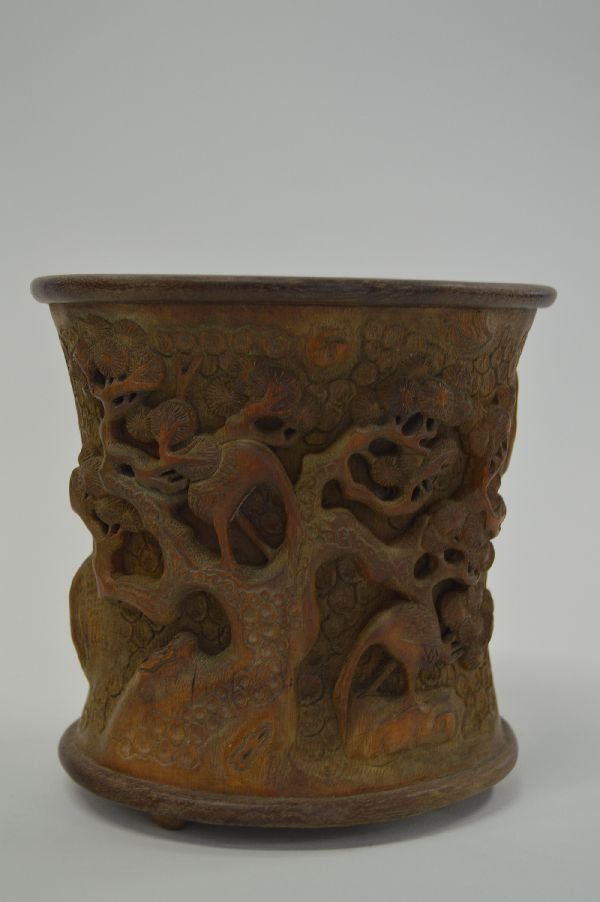 6'' BAMBOO BRUSH POT WITH TREES