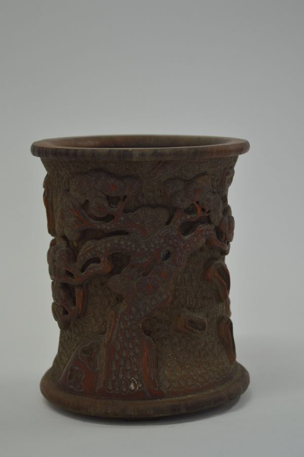 6.25'' BAMBOO BRUSH POT WITH TREES