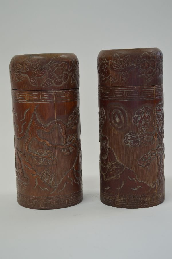 PAIR OF 8.5'' CARVED BAMBOO COVERED CONTAINERS WITH
